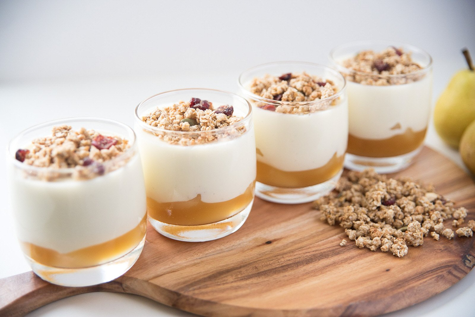Four individual caramelized pear panna cotta